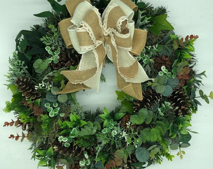 Front door wreath, outdoor wreath, greenery wreath, rustic wreath, all season wreath, year round wreath, artificial wreath, nearly natural