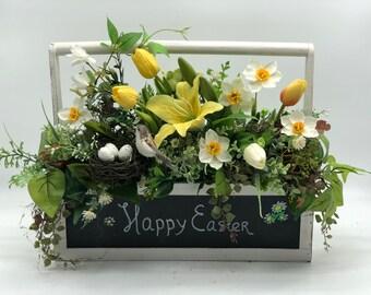 Artificial easter arrangement, spring decor, happy easter, spring arrangement, easter centerpiece, artificial spring flower arrangement