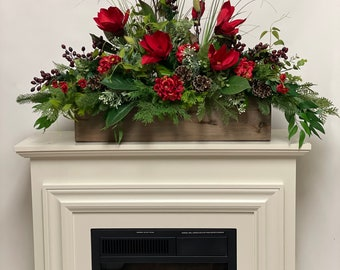 Artificial red floral centerpiece , garland mantel decor, All season decor