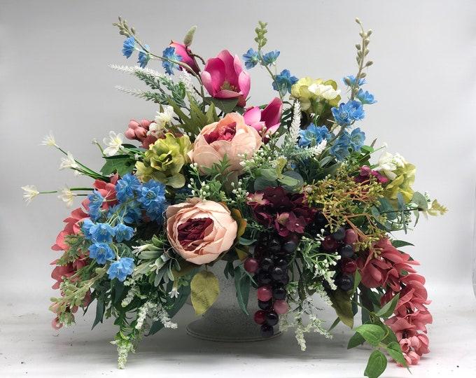 Artificial flower arrangement, classic centerpiece, summer arrangement, centerpiece, luxurious arrangement
