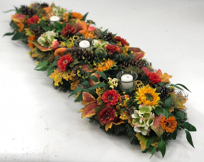 Large Fall arrangement, Artificial fall centerpiece, table centerpiece, thanksgiving arrangement, lasts forever