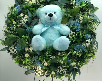 Memorial wreath for child, funeral wreath, blue wreath, memorial arrangement for child, funeral arrangement for boy