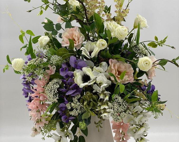 Luxurious artificial flower arrangement, spring arrangement, spring centerpiece, wisteria flower arrangement