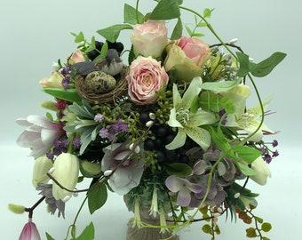 Artificial easter arrangement, spring decor, easter bouquet, easter centerpiece