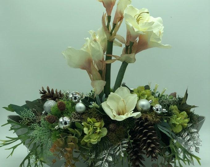 Christmas arrangement, Christmas centerpiece, white Christmas arrangement
