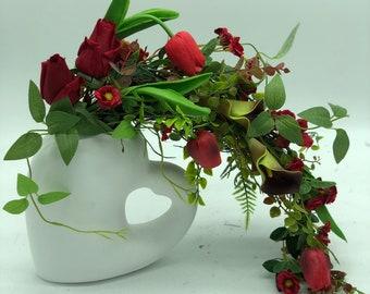 Valentines arrangement, Mother's Day flowers, i love you gift, floral art, heart arrangement, unique gift, wedding flowers, valentines