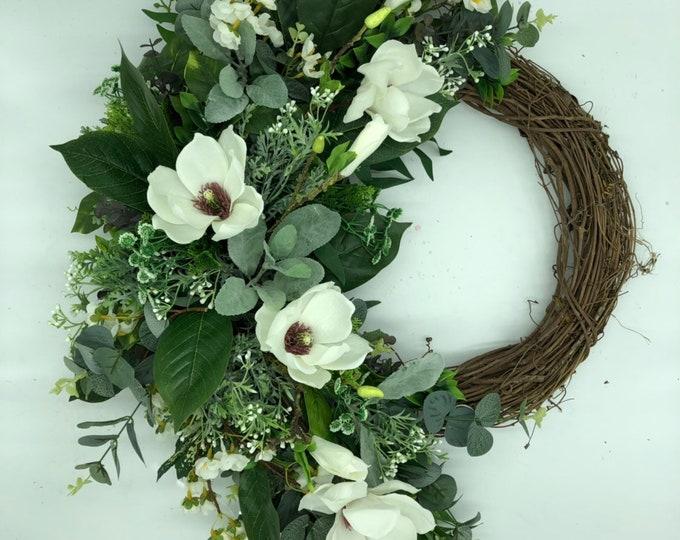 Magnolia wreath, luxurious wreath, artificial wreath, front door wreath, year round wreath, nearly natural, farmhouse style wreath
