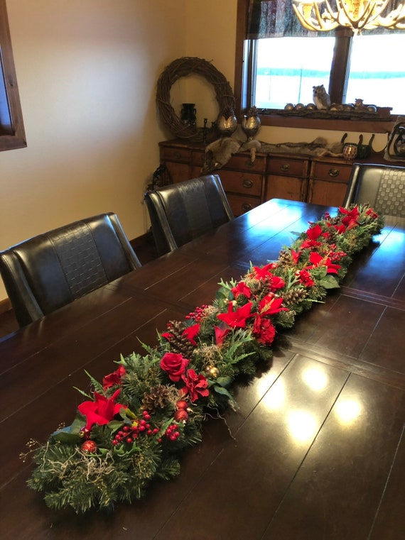 Xxl Christmas Centerpiece Table Runner Christmas Garland Advent Centerpiece 80 Inches Long