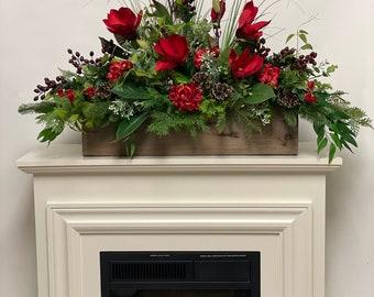 Artificial red floral centerpiece , garland mantel decor, All season decor