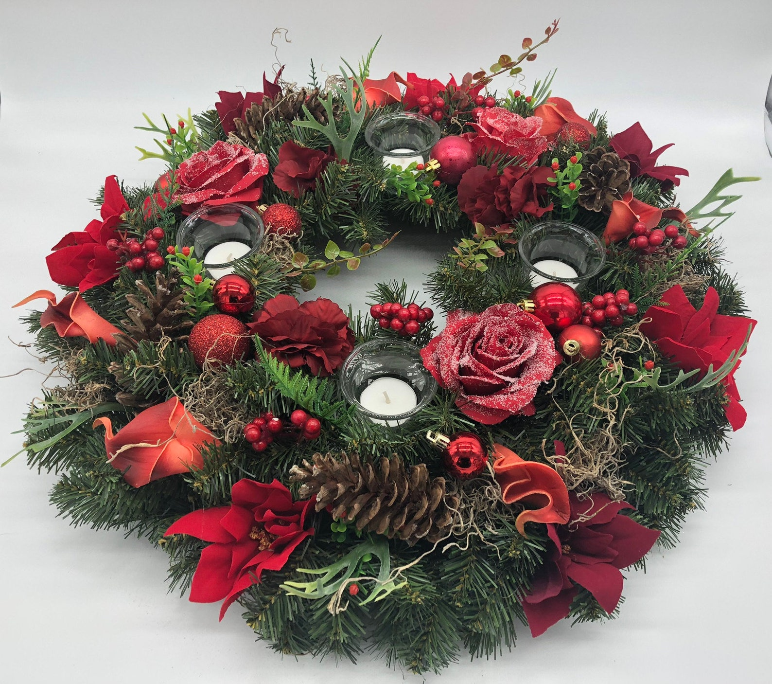 Christmas wreath, advent wreath, table wreath, christmas centerpiece