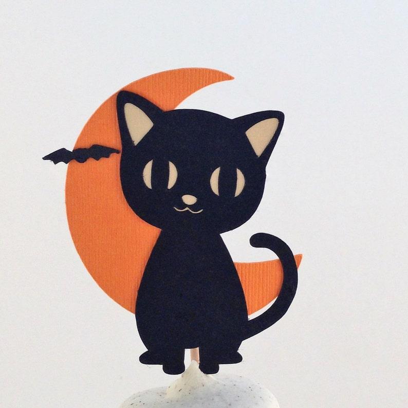 Gato Negro Halloween Cupcake Topper Negro Gato Cupcake Topper Etsy