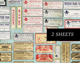 63 Antique Poison Labels -  2 sheets - A4 - Digital collage sheet - Instant Download