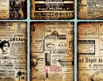 Vintage French Newspaper ads - 9 Printable ATC Cards Digital Collage Sheet - Ideal for Scrapbooking