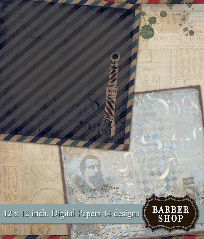 Digital Scrapbook - - 14 digital Papers Instant Download Barber Shop Vintage- 12 x 12 inch
