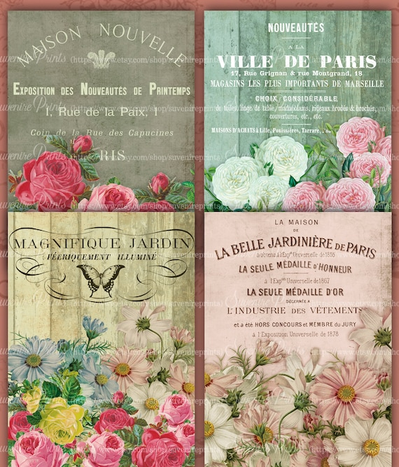 Tags Printable  Digital Collage Sheet INSTANT DOWNLOAD Download Images 3x5 Pink /& White Cottage Roses Ephemera Romantic