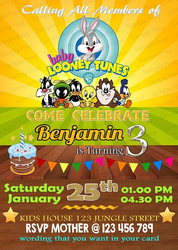 Baby Looney Tunes Foto Invitación Cumpleaños Niña Niño Personalizado Digital De Archivos Baby Looney Tunes Invitaciones Baby Looney Tunes