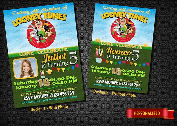 Looney Tunes Photo Invitation Birthday Girl Boy Etsy