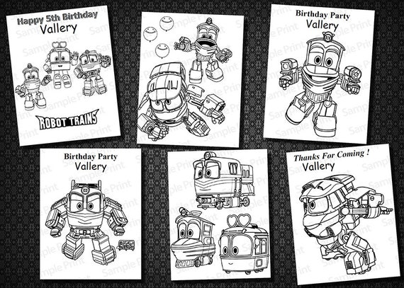 Instant Download Robot Train Coloring Pages Robot Train Etsy