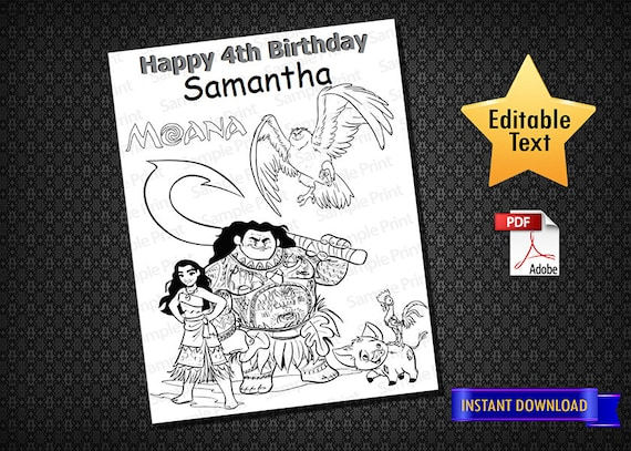 Instant Download Moana 02 Coloring Pages Moana Activity Pages Birthday Coloring Pages Moana Birthday Moana Printable