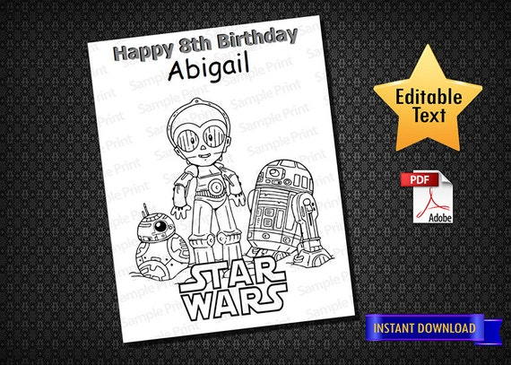 Instant Download Star Wars Coloring Pages Star Wars Etsy