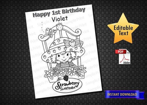 Instant Download Strawberry Shortcake 01 Coloring Pages Strawberry Shortcake Activity Pages Birthday Coloring Pages Birthday Printable