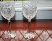2 Waterford Crystal quot Seahorse quot Large Goblets Super Condition Label on One 8.1 2 quot tall