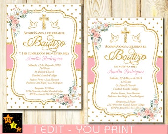 Spanish Baptism And 1st Birthday Invitation Any Age Delicate Blush PinkPastel Flowers Gold Dots Printable DIY 5x7 Or 4x6