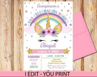 SPANISH Unicorn Invitation Birthday Any Age Rainbow Head Magical Printable Digital File