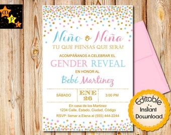 Spanish Gender Reveal Invitation Boy Or Girl He She Party Confetti Blue And Pink INSTANT Download EDITABLE In Adobe Reader