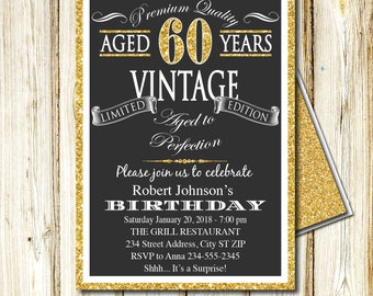 "60th Birthday Invitation, Aged to Perfection, Vintage, Black and Gold, INSTANT download, EDITABLE Adobe Reader, DIY, Printable, 5""x7"", ATP60"