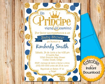 Spanish invitation etsy spanish prince baby shower invitation boy baby shower invitation royal blue and gold printable invitation editable instant download filmwisefo