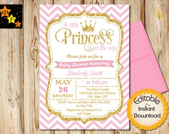 Princess baby shower invitations etsy princess baby shower invitation girl baby shower pink and gold chevron instant download editable in adobe reader diy printable invite filmwisefo