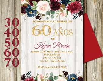SPANISH 50th Birthday Invitation All Ages Floral Rustic White Wood Background DIY Printable 5x7 4x6
