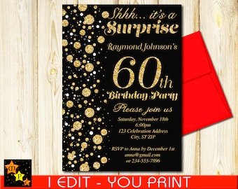 Surprise 60th birthday invitations etsy 60th birthday surprise invitation all ages black and gold confetti diy 5x7 or 4x6 filmwisefo
