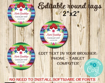 2 x 3.5 Instant Download from Corjl,Printable Birthday Fiesta Thank You Tags Mexican Style Edit with Corjl DIY Baby Shower