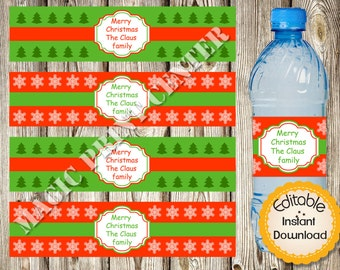 Christmas Water Bottle Labels Etsy