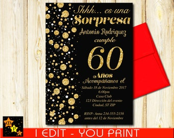 SPANISH 60th Birthday Surprise Invitation All Ages Black And Gold Confetti DIY 5x7 Or 4x6
