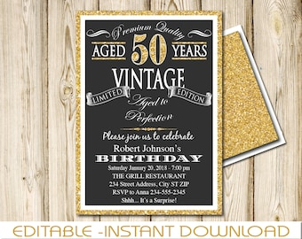 50th Birthday Invitation Aged To Perfection Vintage Black And Gold INSTANT Download EDITABLE Adobe Reader DIY Printable 5x7 ATPG50