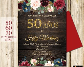 SPANISH 50th Birthday Invitation All Ages Floral Rustic Wood Background DIY Printable