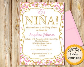 SPANISH Pink And Gold Confetti Hearts Baby Shower Invitation Girl INSTANT Download EDITABLE In Adobe Reader Printable 5x7