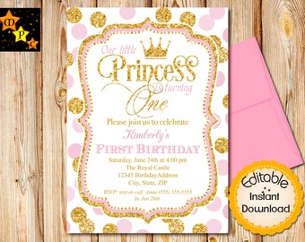 pink and gold first birthday invitations etsy
