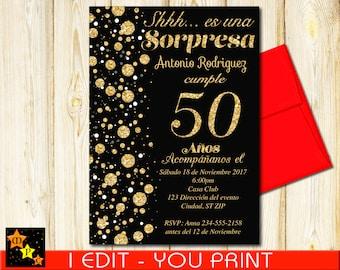 SPANISH 50th Birthday Surprise Invitation All Ages Black And Gold Confetti DIY 5x7