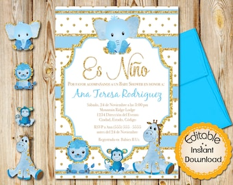 Spanish baby shower etsy spanish baby shower invitation boy blue and gold safari animals instant download editable in adobe reader diy printable 5x7 filmwisefo