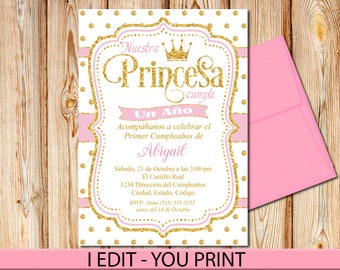 SPANISH Princess First Birthday Invitation Pink And Gold Dots Invite Printable
