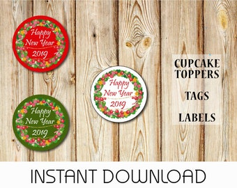 happy new year labels cupcake toppers diy printable pdf instant download holiday tags