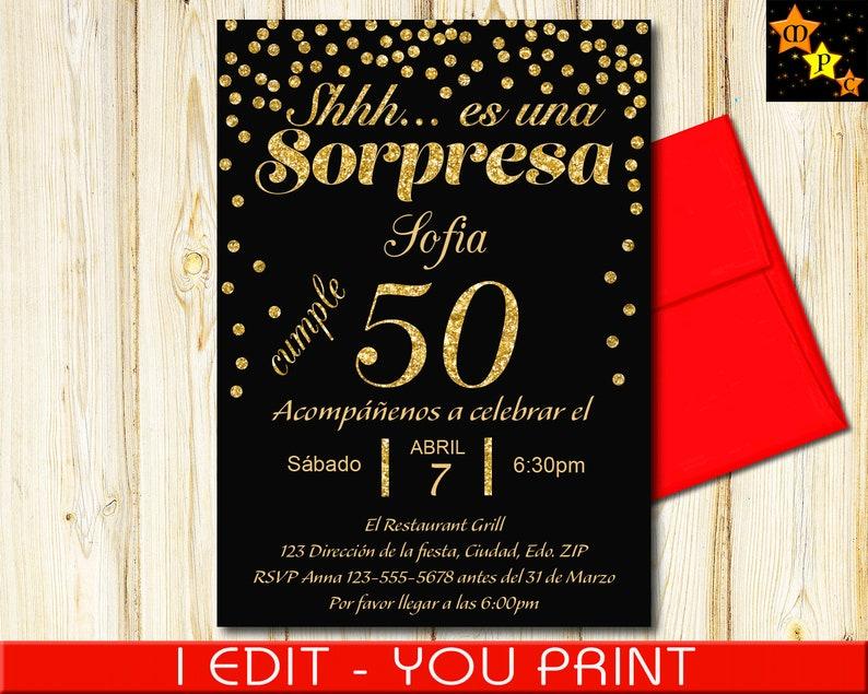 SPANISH 50th Birthday Surprise Invitation Black And Gold