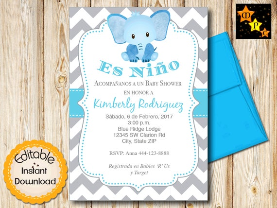 Spanish Elephant Baby Shower Invitation Boy Blue And Gray Etsy