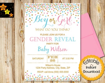 Gender Reveal Invitation, Boy or Girl, He or She, Party, Confetti, Blue and Pink, INSTANT download, EDITABLE in Adobe Reader, Printable, DIY