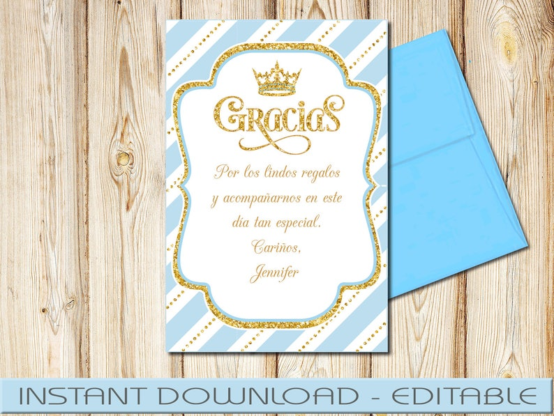 DIY SPANISH Royal Prince Thank You Cards Baby Shower Editable in Acrobat Reader 4x6 Blue and Gold Instant Download Birthday RPBBG1