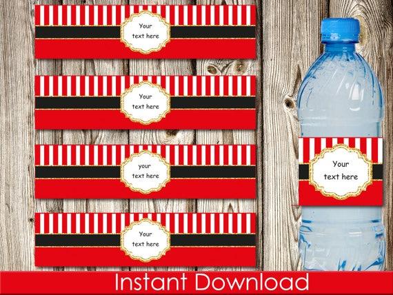 Editable Christmas Water Bottle Labels Santa Belt Instant Etsy